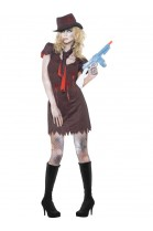 Déguisement femme gangster zombie