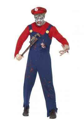 Déguisement Mario plombier zombie