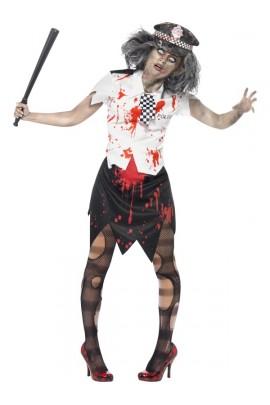 Déguisement femme policier zombie -  Halloween