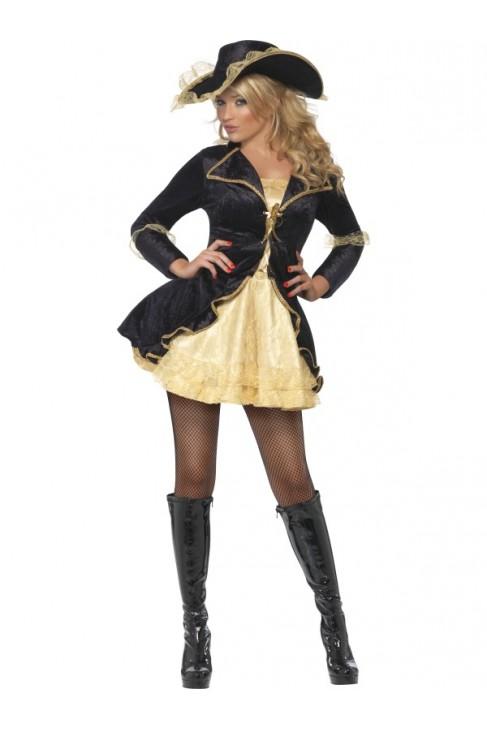 Déguisement Femme Pirate sexy dorée