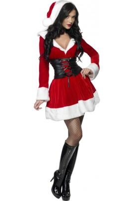 Déguisement Miss Santa ceinture noire